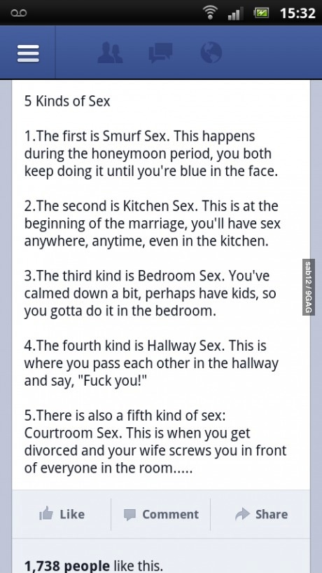 facebook, types of sex