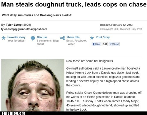thief, idiot, stupid, fail, car jack, donut truck, police chase
