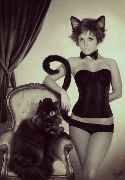 cat, girl, underwear, cute, hot, sexy