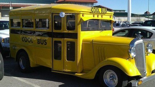 cool bus, school, old style