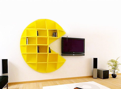 pacman, shelf, tv, interior design