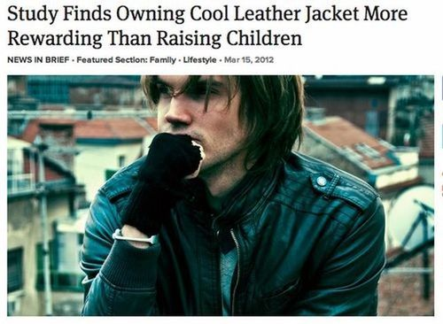 newspaper, headline, cool leather jacket, children, rewarding, study