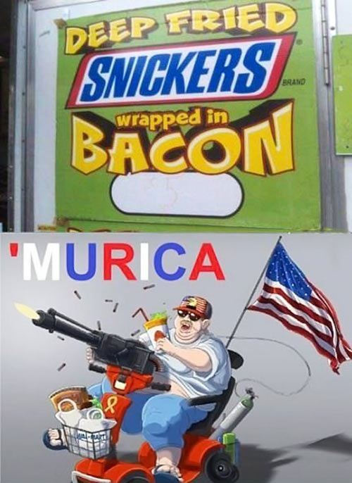 snickers, bacon, murica