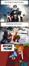 frozen, futurama, captain america, fry, monk