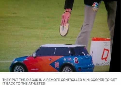 they put the discus in a remote controlled mini cooper to get it back to the athletes