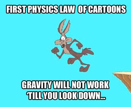 coyote, roadrunner, cartoon, physics