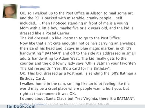 batman, post office, story, kid, cute