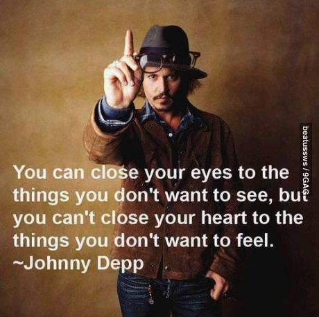 johnny depp, expression, quote, heart, feel, eyes, see