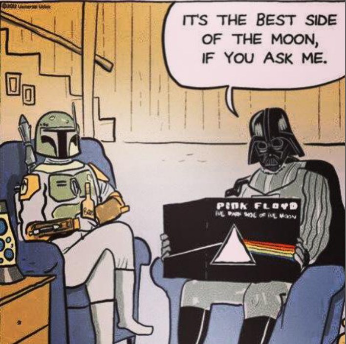 it's the best side of the moon if you ask me, darth vader and bobba feet