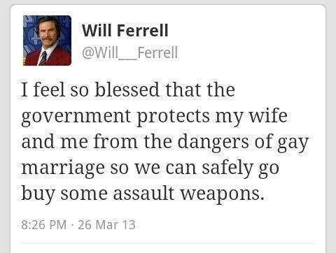 will ferrell, gay marriage, assault weapons