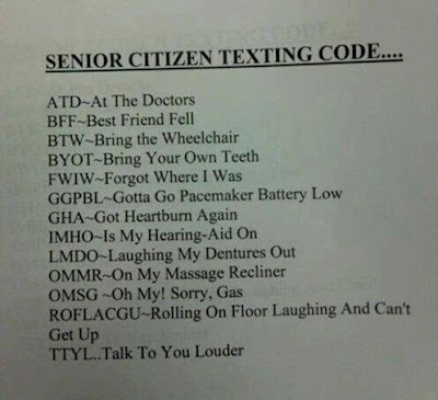 text message, elderly, acronyms, code