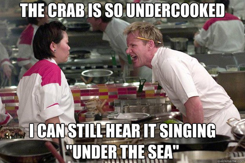 iron chef, crab, signing, meme, insult, the little mermaid