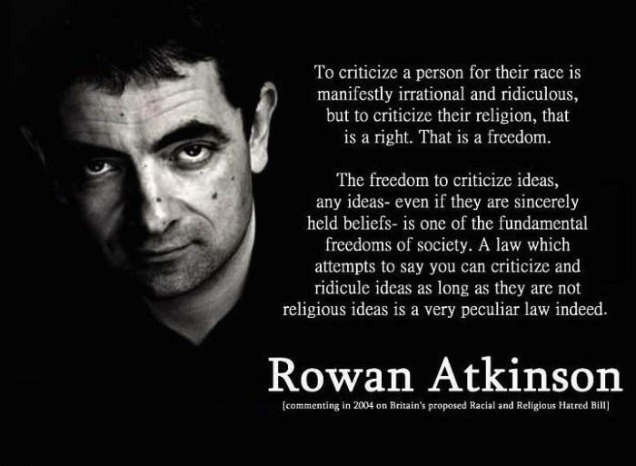 ideas, criticize, rowan atkinson, quote, religion, law