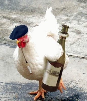 french hen, cock, rooster, wine, cigarette