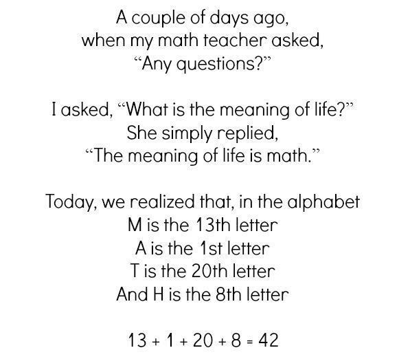 the meaning of life is math, 42, teacher