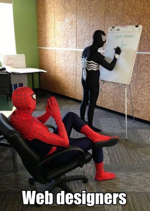 Web designers, spiderman, spawn