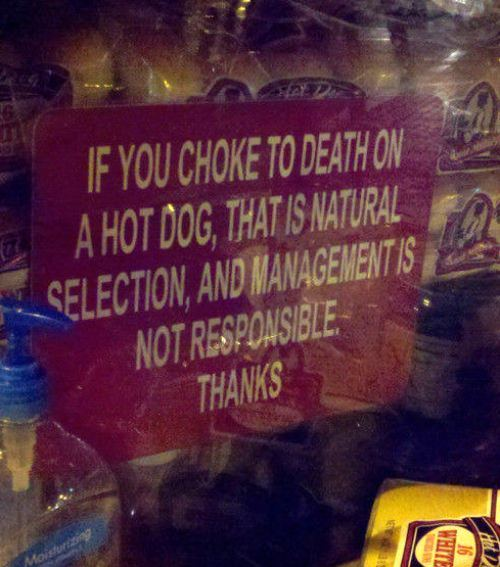 sign, choke, hot dog