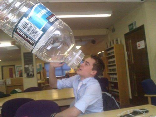water bottle, perspective