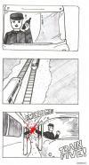 train, high five, comic