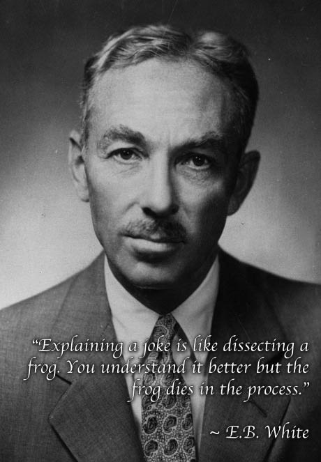 explaining a joke is like dissecting a frog, you understand it better but the frog dies in the process, e b white