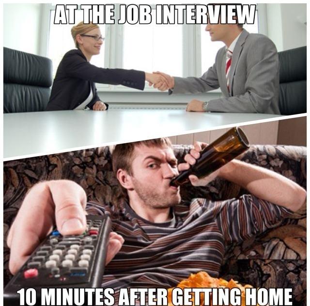 job interview, meme, home