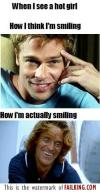 when I see a hot girl, how I think I'm smiling, how I'm actually smiling, expectation, reality, lol