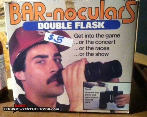 bar-noculars, get into the game, double flask, product, binoculars, win