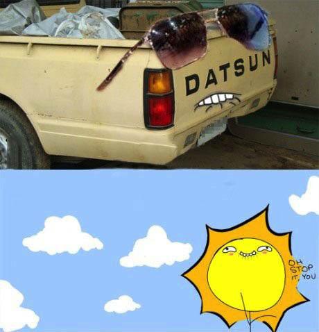 dat sun, truck, photoshop