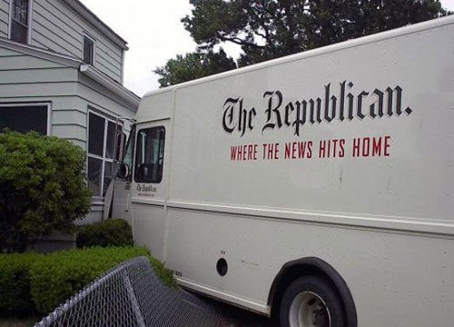 the republican where the news hits home, irony, news van crashed into house