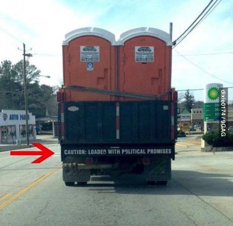 political promises, porta potty, bumper sticker