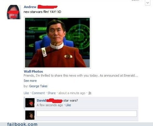 star wars, star trek, movie, facebook, fail