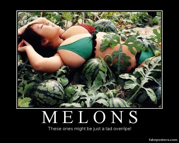 melons these ones might be just a tad overripe, motivation