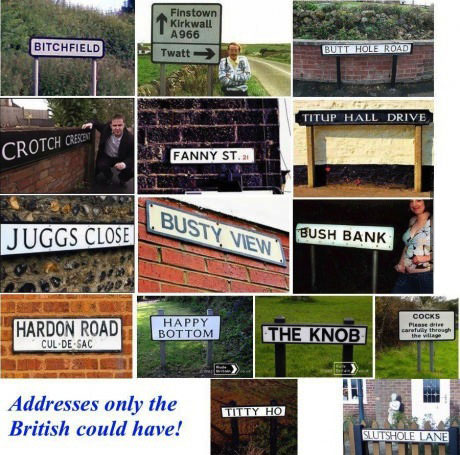 addresses only the british could have, dirty sounding street names
