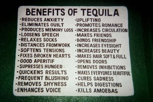 tequila, benefits, chart, table
