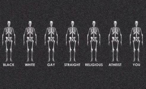 skeleton, human, black, white, gay, straight, religious, atheist