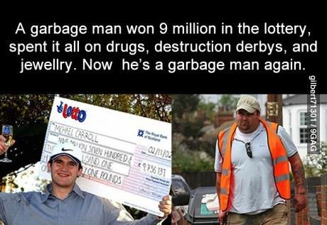 lottery, 9 million, garbage man, story