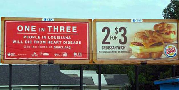 billboard, ad, fail, heart disease, burger king