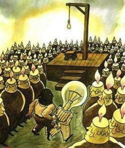 light bulb brought to the guillotine by candles