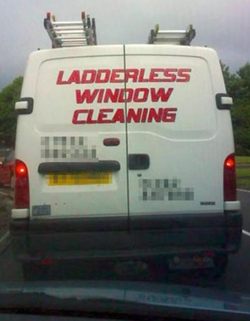 advertising, lies, ladderless window cleaning