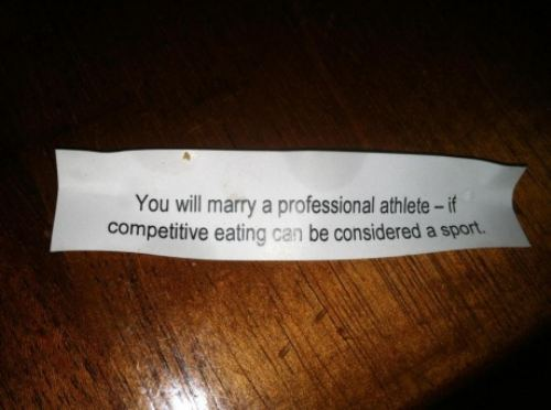 you will marry a professional athlete, if competitive eating can be considered a sport