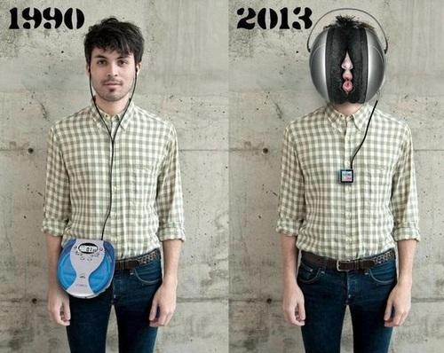 1990, 2013, headphones, cd player, ipod