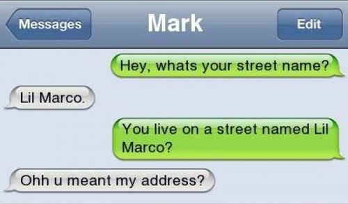 hey what's your street name? lil marco, you live on a street named lil marco?, ohh u meant my address?