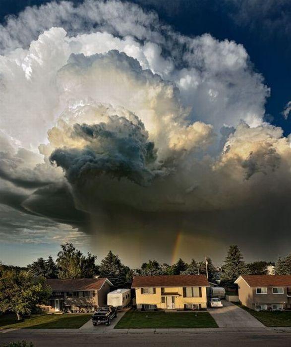 cloud, rain, rainbow, scenery, wow