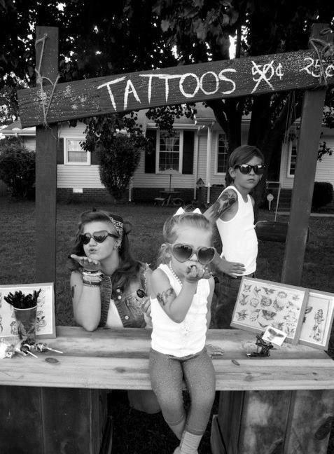 tattoo, kids, black white