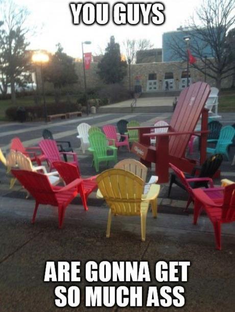 chairs, ass, lawn, meme