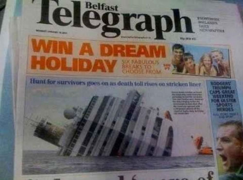 newspaper, ad placement, fail, holiday, capsize