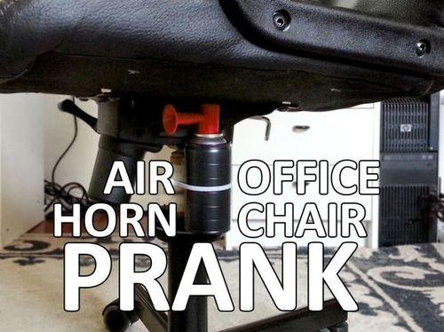 prank, troll, air horn, office chair
