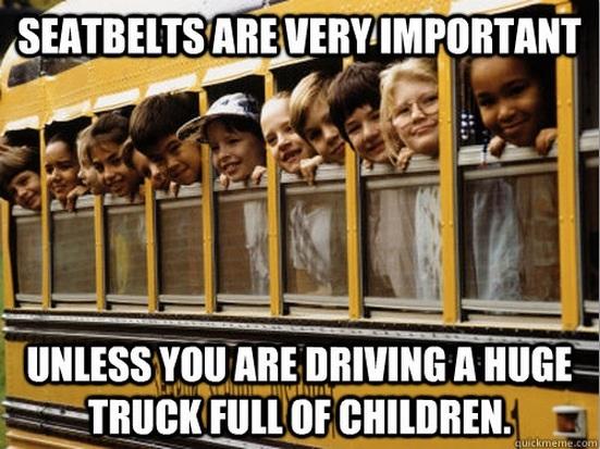 seat belts, school bus, meme, irony