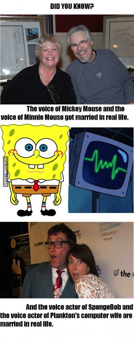 cartoon, voice actors, real life, spongebob, mickey mouse, minnie