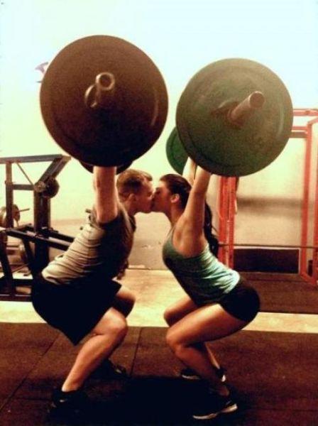 gym, lifting, kiss